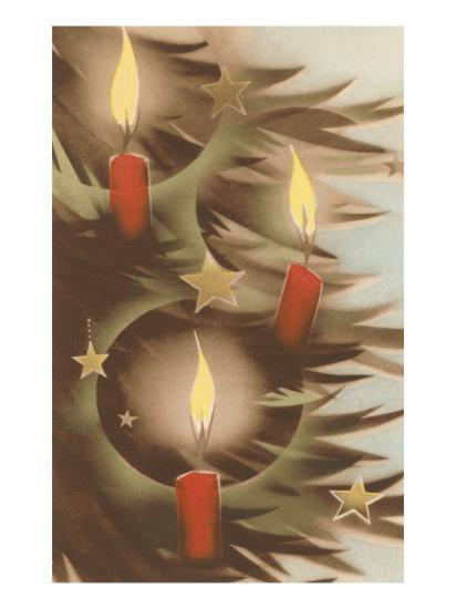 Christmas Candles on Tree--Art Print