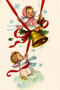 Christmas Card; Angels Ringing a Bell with a Girl Swinging, National Museum of American History