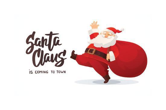 Christmas Card. Funny Cartoon Santa Claus with Huge Red Bag with Presents. Hand Drawn Text - Santa-Olga Lebedeva-Art Print