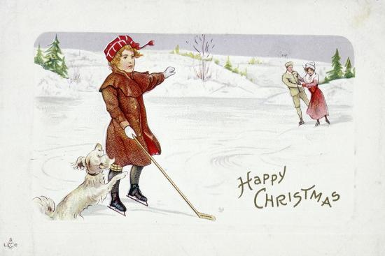 Christmas card with a golfing theme-Unknown-Giclee Print