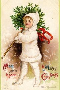 Christmas Card with Child Holding a Wreath, Beatrice Litzinger Collection