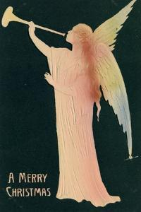 Christmas Card with Golden Angel Merry Christmas, Beatrice Litzinger Collection