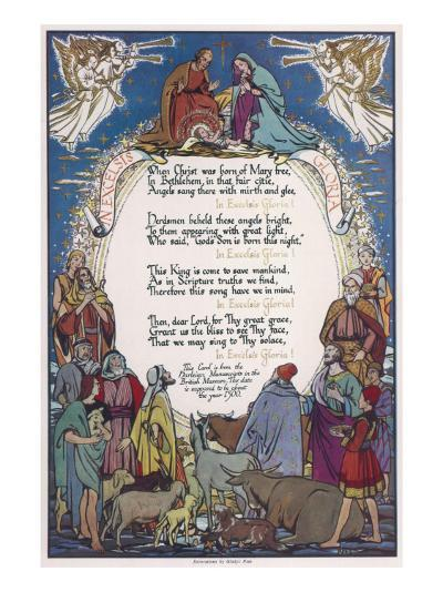 Christmas Carol, 'In Excelsis Gloria!' Illustrated with a Nativity Scene--Giclee Print