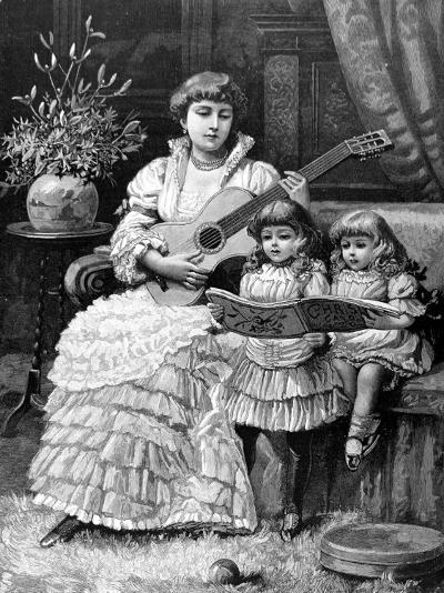 Christmas Carols in a Victorian Household, 1885--Photographic Print