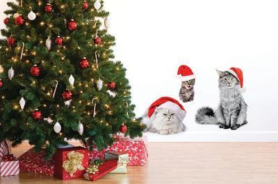 Christmas Cats--Wall Decal