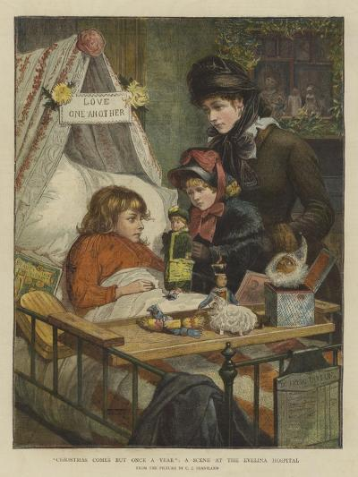 Christmas Comes But Once a Year, a Scene at the Evelina Hospital-Charles Joseph Staniland-Giclee Print
