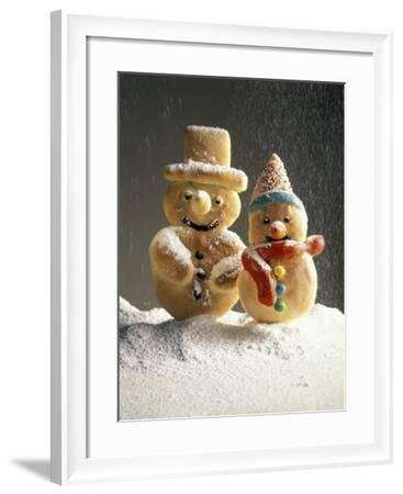 Christmas Cookies in the Shape of Snowmen--Framed Photographic Print