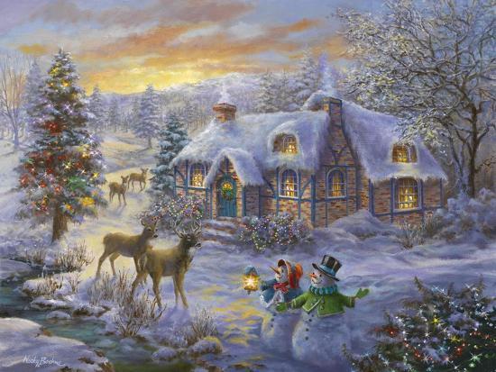 Christmas Cottage Giclee Print Nicky Boehme Art Com