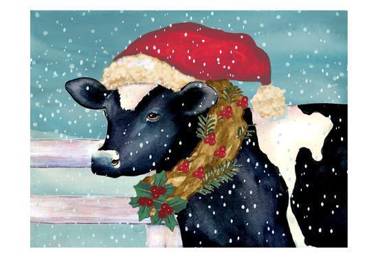 Christmas Cow.Christmas Cow Art Print By Laurie Korsgaden Art Com