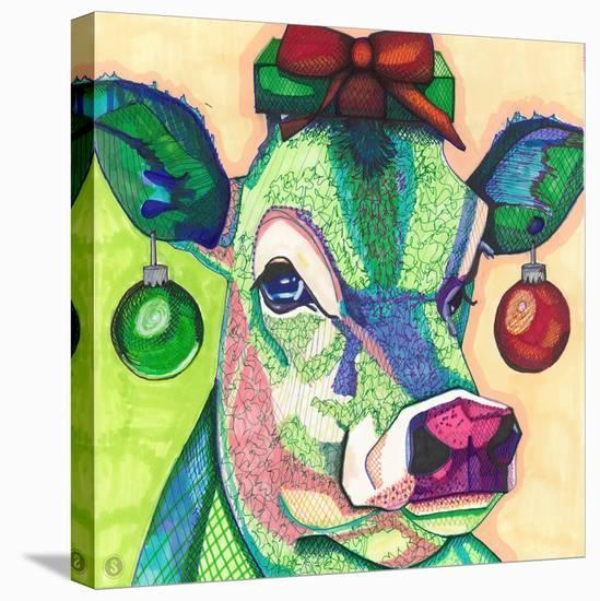 Christmas Cow.Christmas Cow Stretched Canvas Print By Solveig Studio Art Com