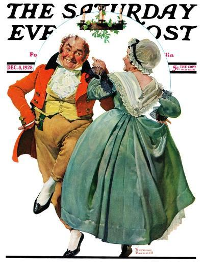"""Christmas Dance"" or ""Merrie Christmas"" Saturday Evening Post Cover, December 8,1928-Norman Rockwell-Giclee Print"