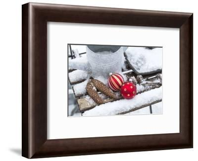 Christmas decoration in the snow, decoration, still life-Andrea Haase-Framed Photographic Print