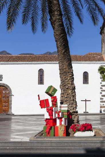 Christmas Decoration under a Palm on the Plaza De Espana, Old Town of Los Llanos, La Palma-Gerhard Wild-Photographic Print