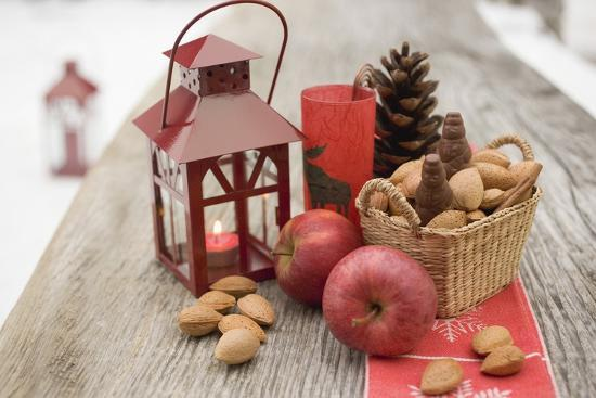 Christmas Decoration with Apples, Nuts and Lantern on Table-Foodcollection-Photographic Print