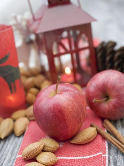 Christmas Decoration with Apples, Nuts, Cinnamon & Lantern--Photographic Print