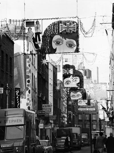 Christmas Decorations Along Carnaby Street in Soho--Photographic Print