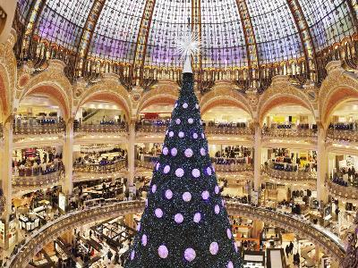 Christmas Decorations in Galeries Lafayette--Photographic Print
