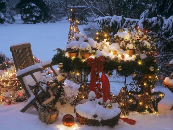 Snowy Christmas.Christmas Decorations On A Snowy Terrace Photographic Print By Elke Borkowski Art Com