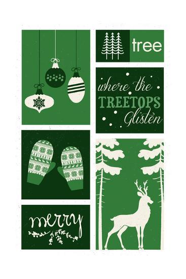 Christmas - Evergreens - Checkerboard-Lantern Press-Art Print