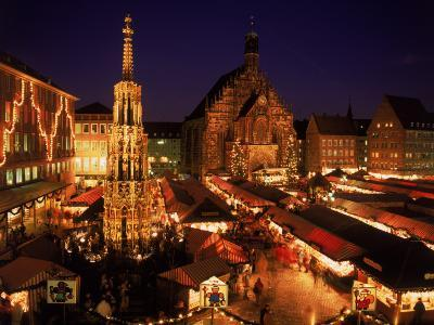 Christmas Fair at Night, Nurnberg, Germany-David Ball-Photographic Print