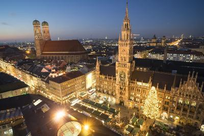 Christmas Fair, Marienplatz from Above, Munich, Bavaria, Germany-Benjamin Engler-Photographic Print