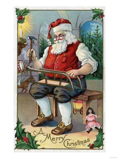 Christmas Greeting - Santa Building Sled-Lantern Press-Art Print