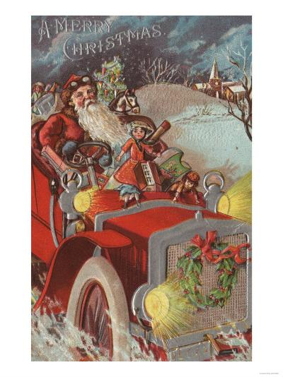 Christmas Greeting - Santa in Car-Lantern Press-Art Print
