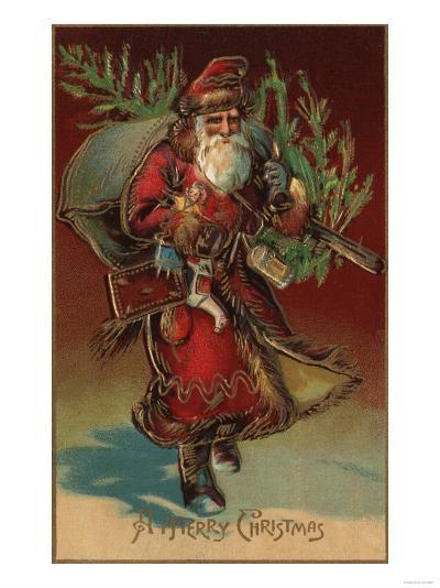 Christmas Greeting - Santa with Gifts No. 2-Lantern Press-Art Print