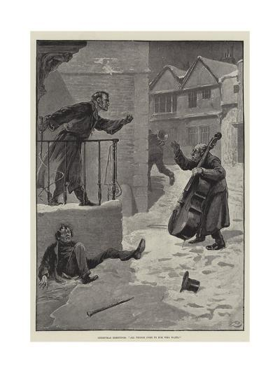 Christmas Greetings, All Things Come to Him Who Waits-Gordon Frederick Browne-Giclee Print