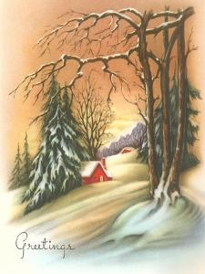 Christmas Greetings, Cabin in Snow