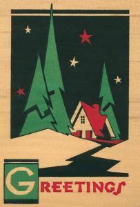 Christmas Greetings, Cabin, Pines, Stars