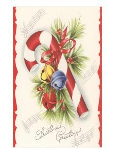 Christmas Greetings, Candy Cane and Jingle Bells
