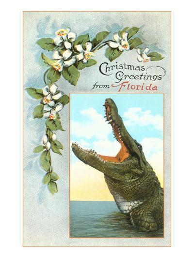 Christmas Greetings from Florida, Alligator--Art Print