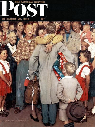 """""""Christmas Homecoming"""" Saturday Evening Post Cover, December 25,1948-Norman Rockwell-Giclee Print"""