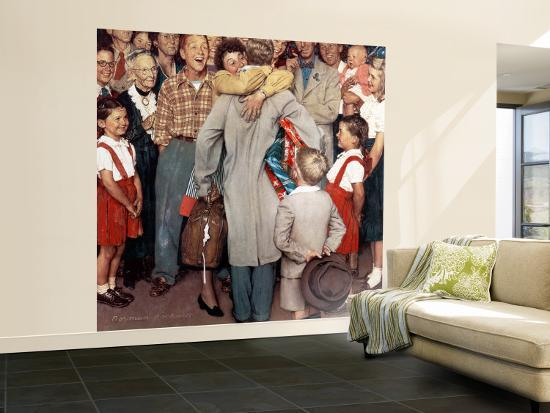 """""""Christmas Homecoming"""" Saturday Evening Post Cover, December 25,1948-Norman Rockwell-Wall Mural – Large"""