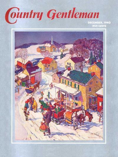 """Christmas in Town,"" Country Gentleman Cover, December 1, 1940-Henry Soulen-Giclee Print"