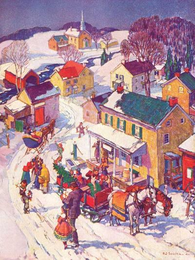 """Christmas in Town,""December 1, 1940-Henry Soulen-Giclee Print"