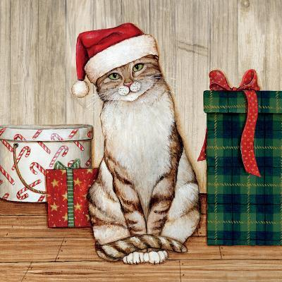 Christmas Kitty on Planked Wood-David Cater Brown-Art Print