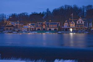 Christmas lights at dusk at the famous fraternity Boat House Row on Schuylkill River in Philadel...
