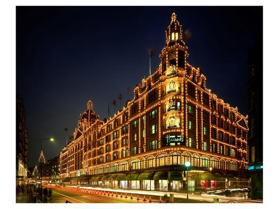 England Christmas Lights.Christmas Lights At Harrods London South England Great Britain Art Print By Art Com