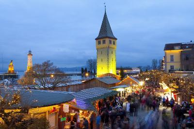 Christmas Market Along Lindau's Historic Port, Lindau Im Bodensee, Germany, Europe-Miles Ertman-Photographic Print