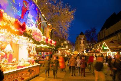 Christmas Market at Dusk, Willy Brandt Platz, Dortmund, North Rhine-Westphalia, Germany, Europe-Frank Fell-Photographic Print