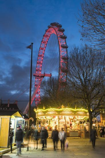 Christmas Market in Jubilee Gardens, with the London Eye at Night, South Bank, London, England-Matthew Williams-Ellis-Photographic Print