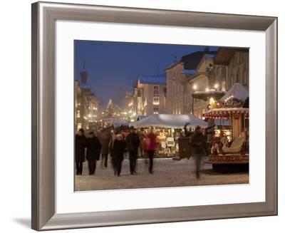 Christmas Market Stalls and People at Marktstrasse at Twilight, Bad Tolz Spa Town, Bavaria, Germany-Richard Nebesky-Framed Photographic Print