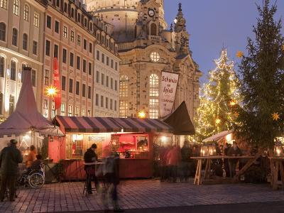 Christmas Market Stalls in Front of Frauen Church and Christmas Tree at Twilight, Dresden-Richard Nebesky-Photographic Print