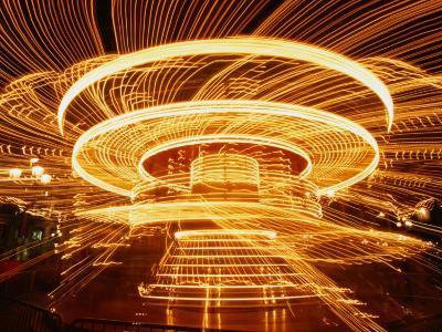 Christmas Merry-Go-Round Spinning on the Place De L'Hotel De Ville, Paris, Ile-De-France, France-Martin Moos-Photographic Print
