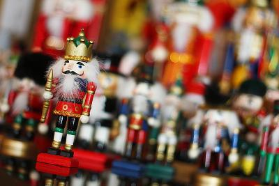 Christmas Nutcracker King in Front of Toy Soldiers-Christin Lola-Photographic Print