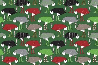 Christmas Ostrich Stockings-Joanne Paynter Design-Giclee Print