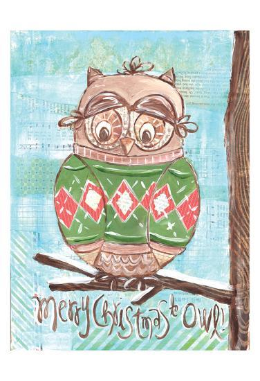 Christmas Owl 4-Erin Butson-Art Print