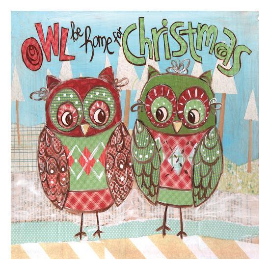 Christmas Owls 2-Erin Butson-Art Print